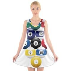 Racked Billiard Pool Balls V Neck Sleeveless Skater Dress