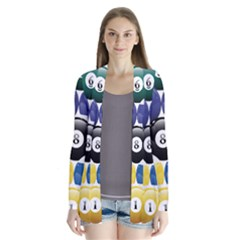 Racked Billiard Pool Balls Drape Collar Cardigan