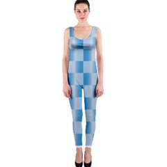 Blue Plaided Pattern Onepiece Catsuit