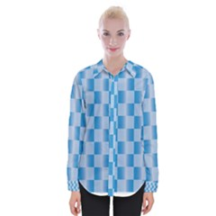 Blue Plaided Pattern Womens Long Sleeve Shirt