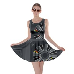 Special Black Power Supply Computer Skater Dress