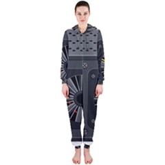 Special Black Power Supply Computer Hooded Jumpsuit (ladies)