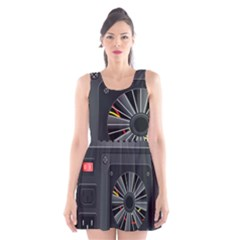 Special Black Power Supply Computer Scoop Neck Skater Dress