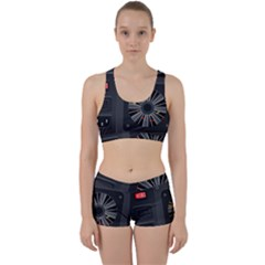 Special Black Power Supply Computer Work It Out Sports Bra Set