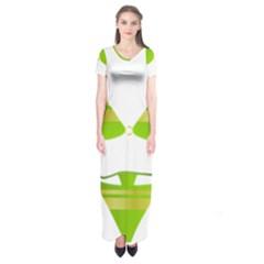 Green Swimsuit Short Sleeve Maxi Dress