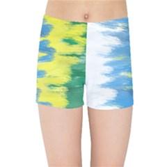 Brazil Colors Pattern Kids Sports Shorts