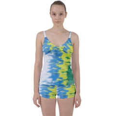 Brazil Colors Pattern Tie Front Two Piece Tankini