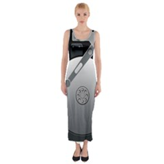 Computer Hard Disk Drive Hdd Fitted Maxi Dress