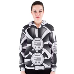 12v Computer Fan Women s Zipper Hoodie