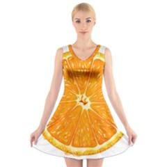 Orange Slice V Neck Sleeveless Skater Dress