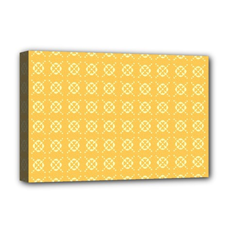 Yellow Pattern Background Texture Deluxe Canvas 18  X 12