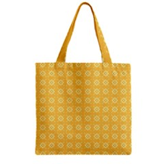 Yellow Pattern Background Texture Zipper Grocery Tote Bag