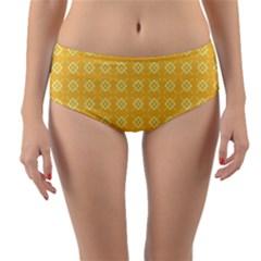 Yellow Pattern Background Texture Reversible Mid Waist Bikini Bottoms