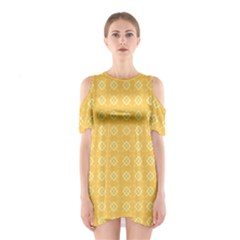 Yellow Pattern Background Texture Shoulder Cutout One Piece