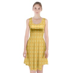 Yellow Pattern Background Texture Racerback Midi Dress