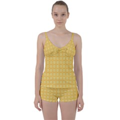 Yellow Pattern Background Texture Tie Front Two Piece Tankini