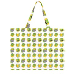 St Patrick S Day Background Symbols Zipper Large Tote Bag