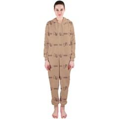 Brown Pattern Background Texture Hooded Jumpsuit (ladies)
