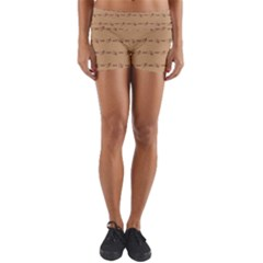 Brown Pattern Background Texture Yoga Shorts