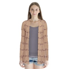 Brown Pattern Background Texture Drape Collar Cardigan