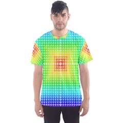 Square Rainbow Pattern Box Men s Sports Mesh Tee