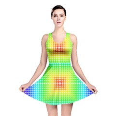 Square Rainbow Pattern Box Reversible Skater Dress