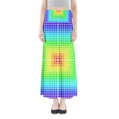 Square Rainbow Pattern Box Full Length Maxi Skirt