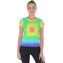 Square Rainbow Pattern Box Short Sleeve Sports Top