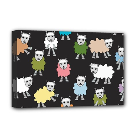 Sheep Cartoon Colorful Black Pink Deluxe Canvas 18  X 12