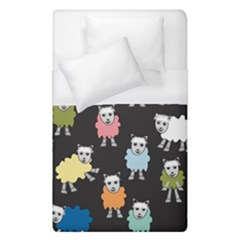 Sheep Cartoon Colorful Black Pink Duvet Cover (single Size)