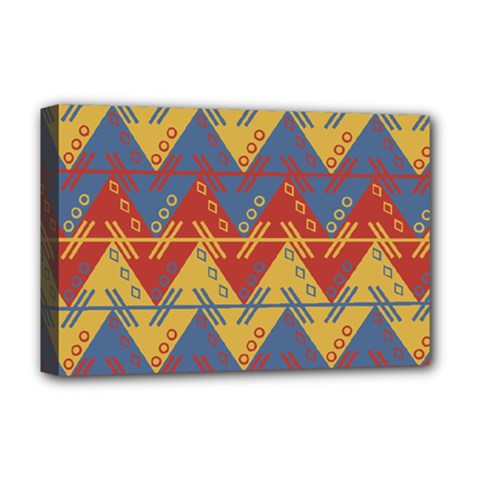 Aztec South American Pattern Zig Deluxe Canvas 18  X 12