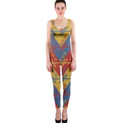 Aztec South American Pattern Zig Onepiece Catsuit