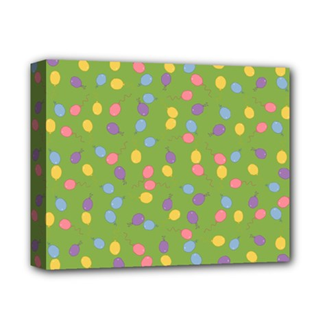 Balloon Grass Party Green Purple Deluxe Canvas 14  X 11