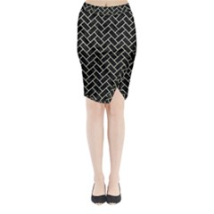 Brick2 Black Marble & Beige Linen Midi Wrap Pencil Skirt