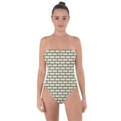 Brick1 Black Marble & Beige Linen (r) Tie Back One Piece Swimsuit