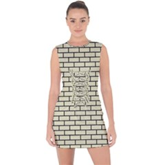 Brick1 Black Marble & Beige Linen (r) Lace Up Front Bodycon Dress