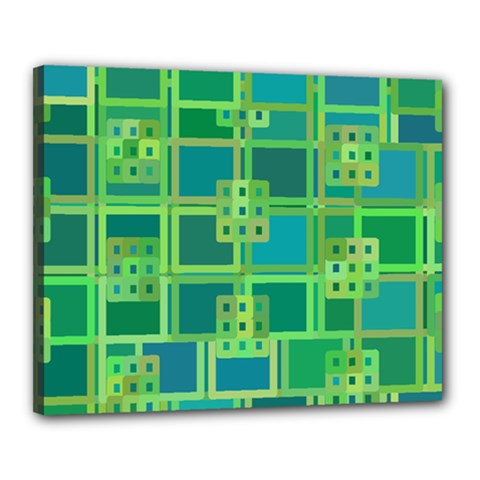 Green Abstract Geometric Canvas 20  X 16
