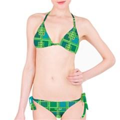 Green Abstract Geometric Bikini Set