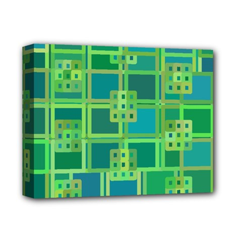 Green Abstract Geometric Deluxe Canvas 14  X 11