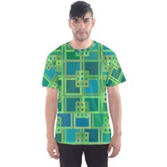 Green Abstract Geometric Men s Sports Mesh Tee
