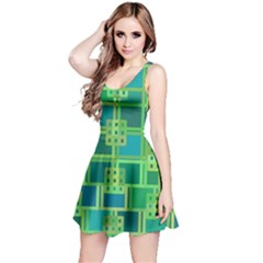 Green Abstract Geometric Reversible Sleeveless Dress