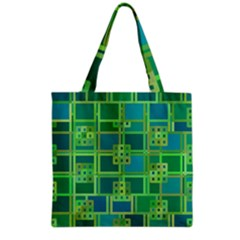 Green Abstract Geometric Grocery Tote Bag