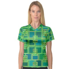 Green Abstract Geometric V Neck Sport Mesh Tee