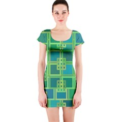 Green Abstract Geometric Short Sleeve Bodycon Dress
