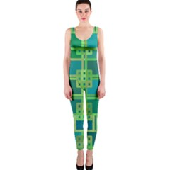 Green Abstract Geometric Onepiece Catsuit