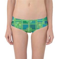 Green Abstract Geometric Classic Bikini Bottoms
