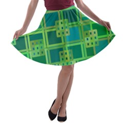 Green Abstract Geometric A Line Skater Skirt
