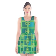 Green Abstract Geometric Scoop Neck Skater Dress