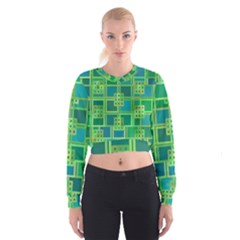 Green Abstract Geometric Cropped Sweatshirt
