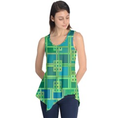 Green Abstract Geometric Sleeveless Tunic